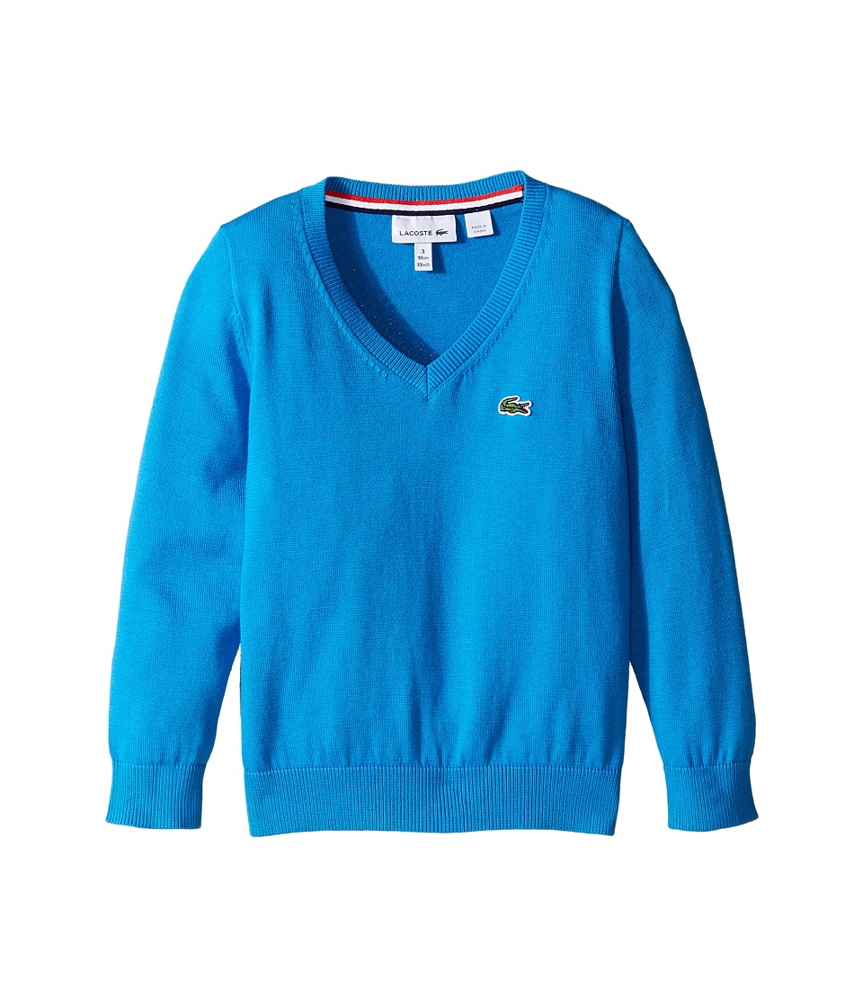 Lacoste Kids - V-Neck Cotton Sweater (Toddler/Little Kids/Big Kids) (Barbados 1) Boy's Sweater