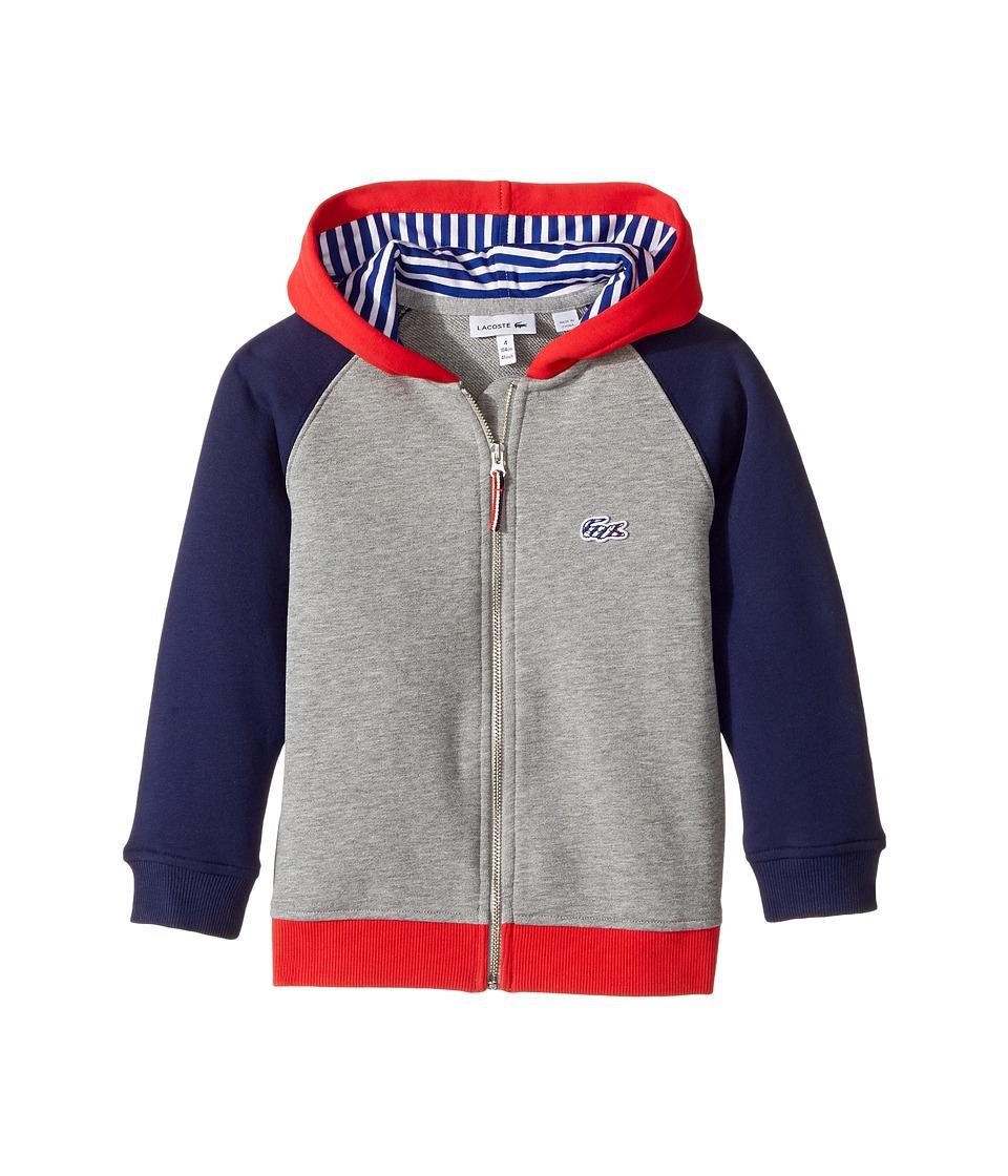 Lacoste Kids - Small Hoodie Color Block Sweatshirt (Toddler/Little Kids/Big Kids) (Aluminium Grey Chine/Penumbra/Grenadine) Boy's Sweatshirt