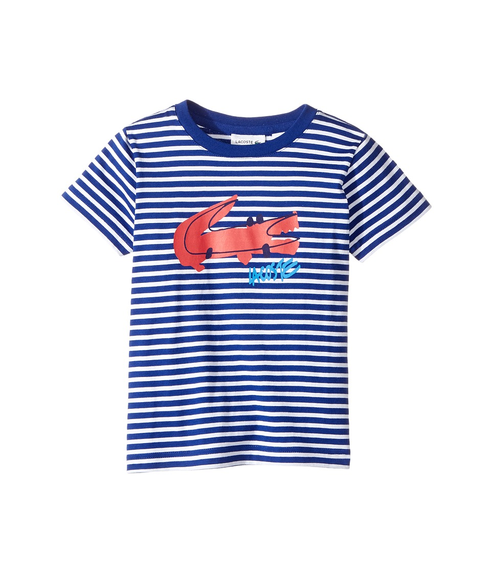 Lacoste Kids - Small Short Sleeve Whimsy Croc Stripe Tee (Toddler/Little Kids/Big Kids) (White/France) Boy's T Shirt