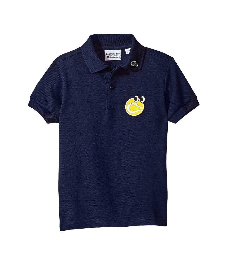 Lacoste Kids - Yazbouky Short Sleeve Googly Eyes Polo (Little Kids/Big Kids) (Navy Blue) Boy's Short Sleeve Pullover