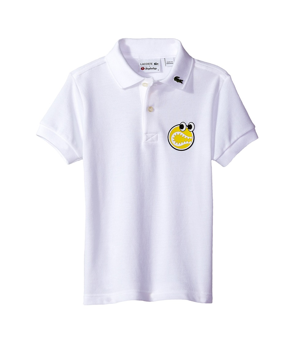 Lacoste Kids - Yazbouky Short Sleeve Googly Eyes Polo (Little Kids/Big Kids) (White) Boy's Short Sleeve Pullover