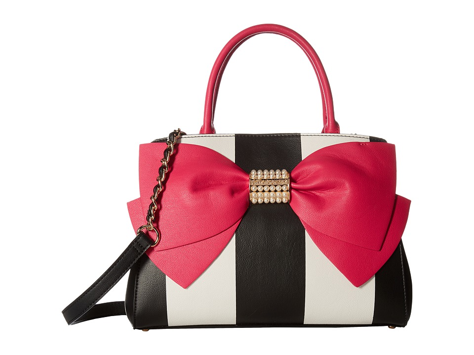 Betsey Johnson - Pearl Of A Girl Bow Satchel (Stripe/Fuchsia) Satchel Handbags