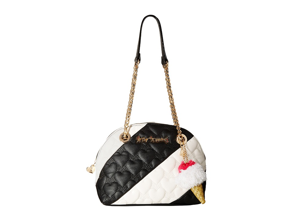 Betsey Johnson - Split Decision Dome Satchel (Black/Cream) Satchel Handbags