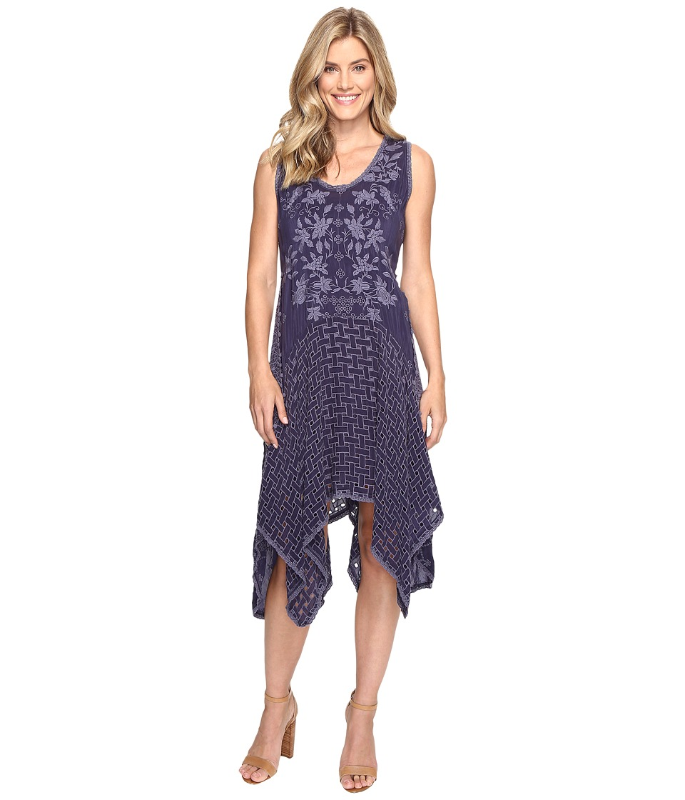 Johnny Was - Eyelet Faith Dress w/ Slip (Blue Gravel) Women's Dress