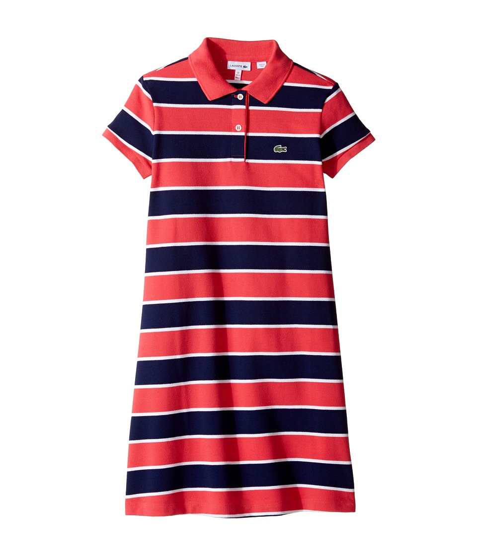 Lacoste Kids - Pique Bold Stripe Dress (Toddler/Little Kids/Big Kids) (Sirop Pink/White/Penumbra) Girl's Dress