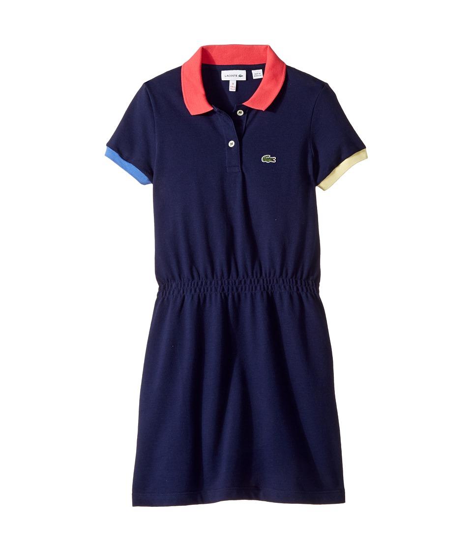 Lacoste Kids - Pique Color Block Rib Dress (Toddler/Little Kids/Big Kids) (Penumbra) Girl's Dress