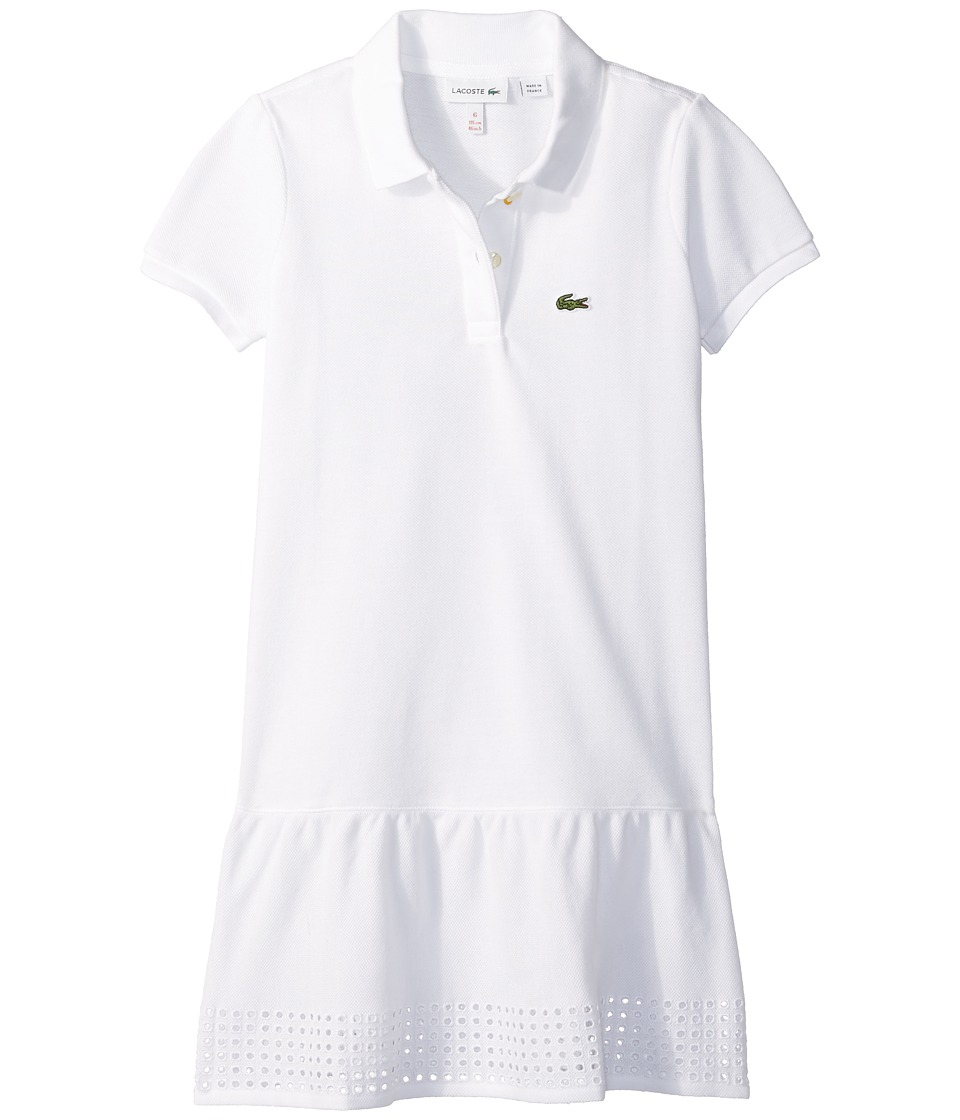Lacoste Kids - Pique Polo Dress w/ Eyelet Gathers (Toddler/Little Kids/Big Kids) (White) Girl's Dress