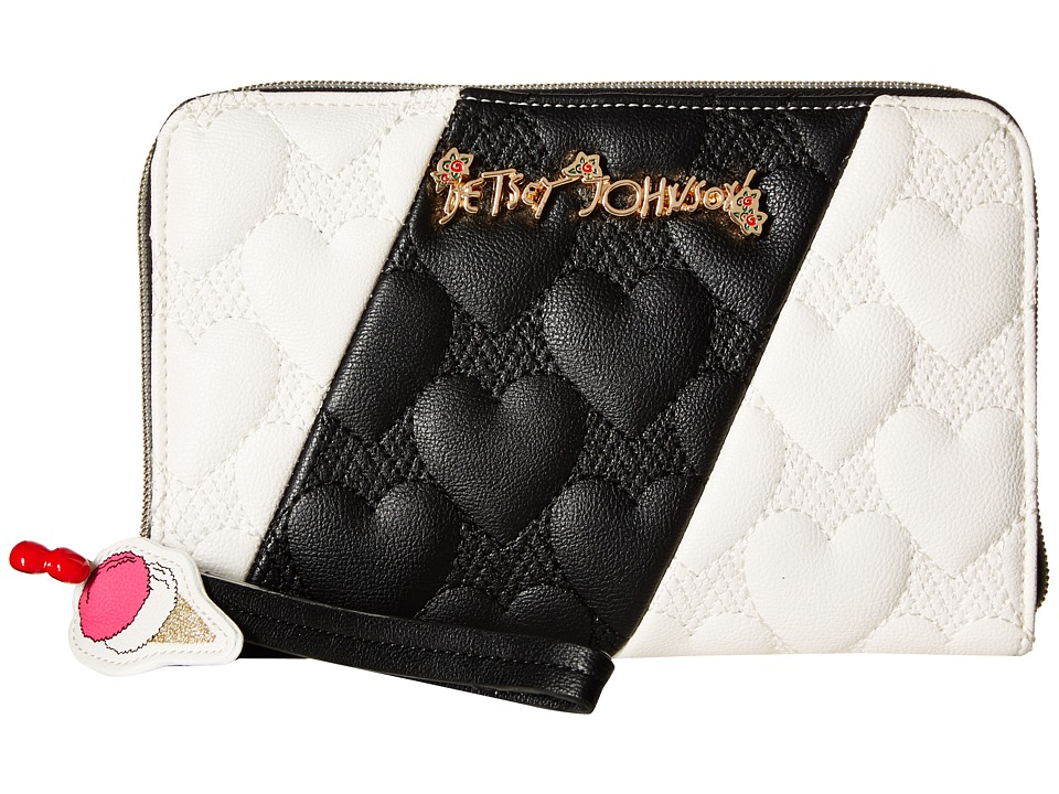 Betsey Johnson - Split Decision Wallet (Black/Cream) Wallet Handbags