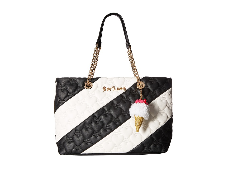 Betsey Johnson - Split Decision Tote (Black/Cream) Tote Handbags