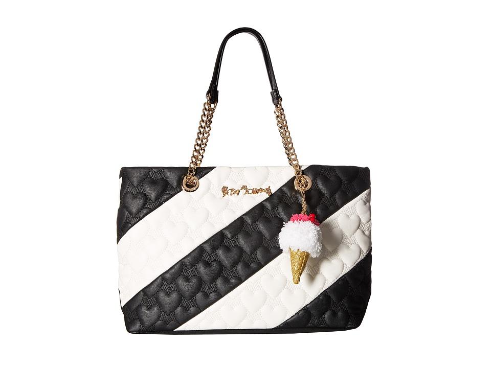 Betsey Johnson - Split Decision Tote (Black/Cream) Tote Handbags
