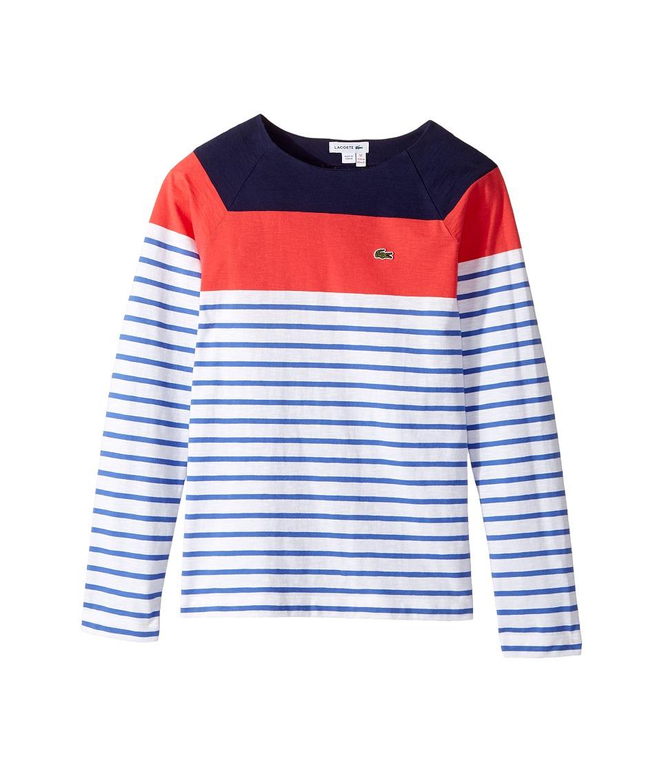 Lacoste Kids - Long Sleeve Stripe Color Block Tee (Toddler/Little Kids/Big Kids) (White/Milos Blue/Sirop Pink/Penumbra) Girl's T Shirt