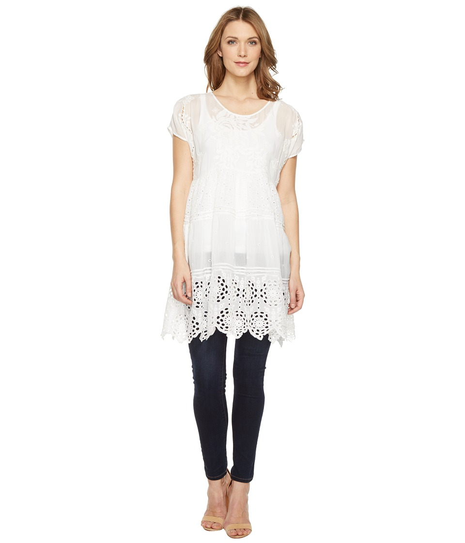 Johnny Was - Arva Tiered Tunic (White) Women's Blouse