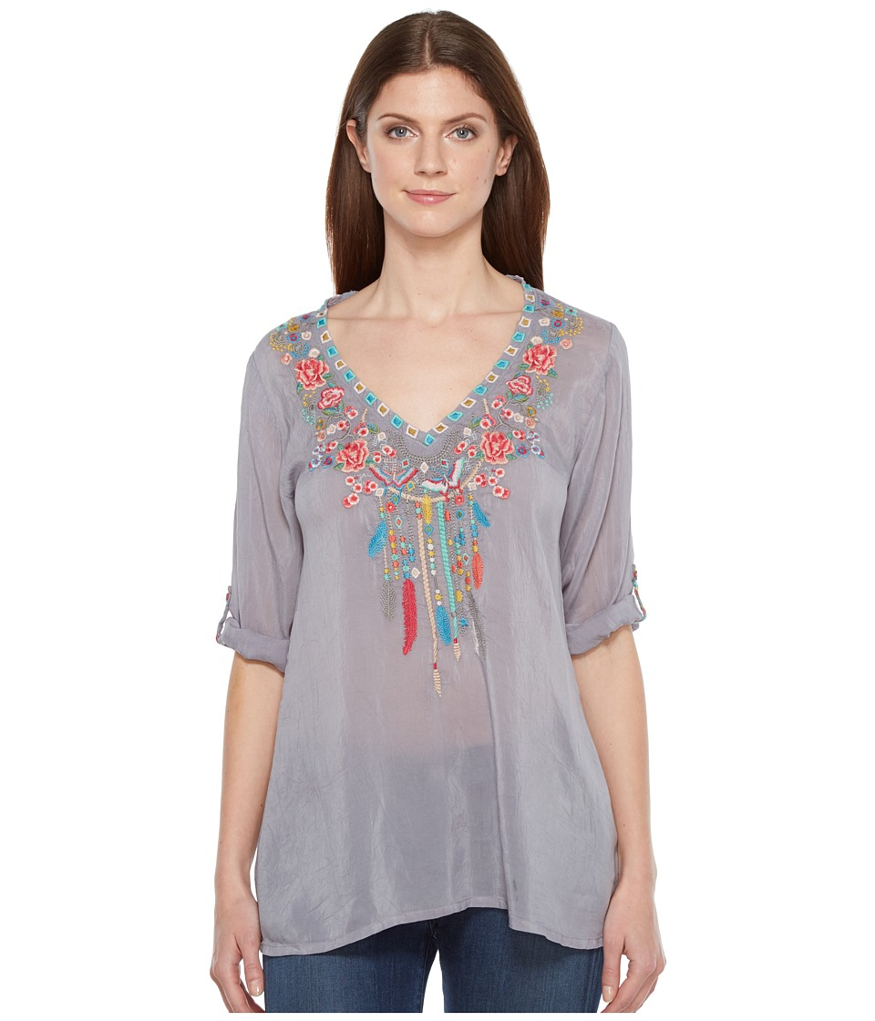 Johnny Was - Butterfly Dream Blouse (Blue Steel) Women's Blouse
