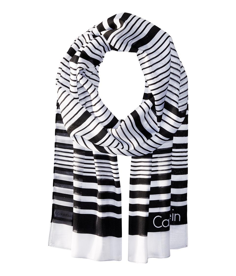 Calvin Klein - Variegated Shadow Stripe (Black) Scarves