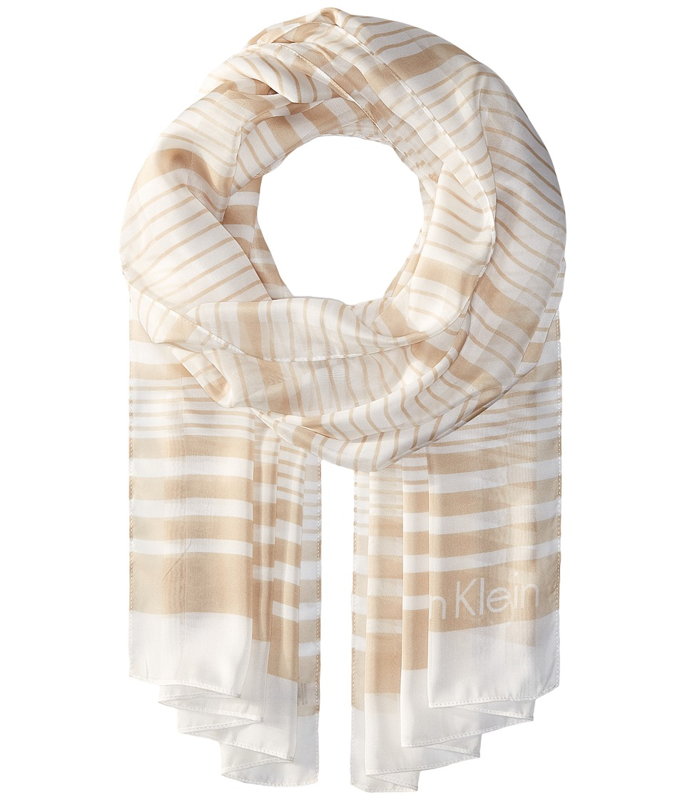 Calvin Klein - Variegated Shadow Stripe (Latte) Scarves