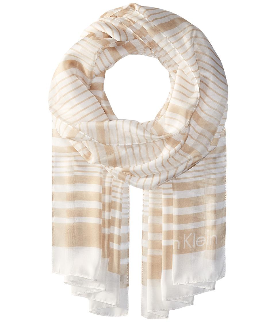 Calvin Klein - Variegated Shadow Stripe (Latte) Scarves