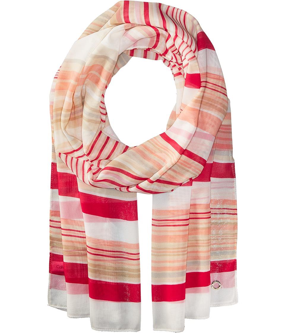 Calvin Klein - Swirling Stripe (Hibiscus) Scarves
