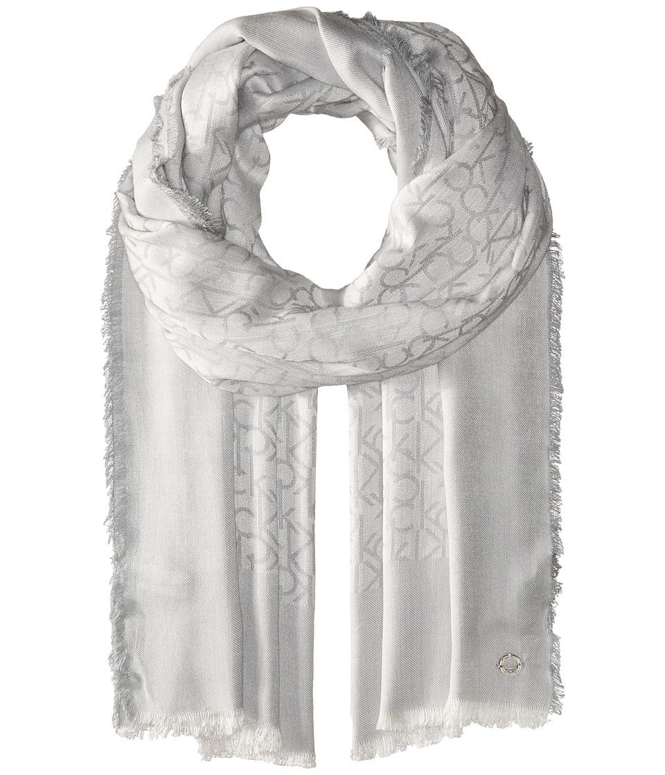 Calvin Klein - Border Logo Scarf (Grey) Scarves