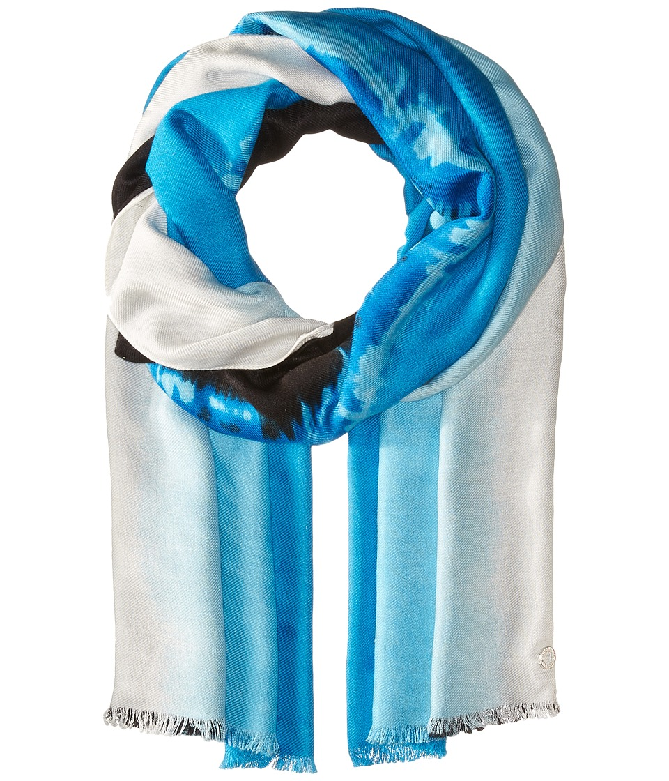Calvin Klein - Printed Pashmina (Cerulean) Scarves