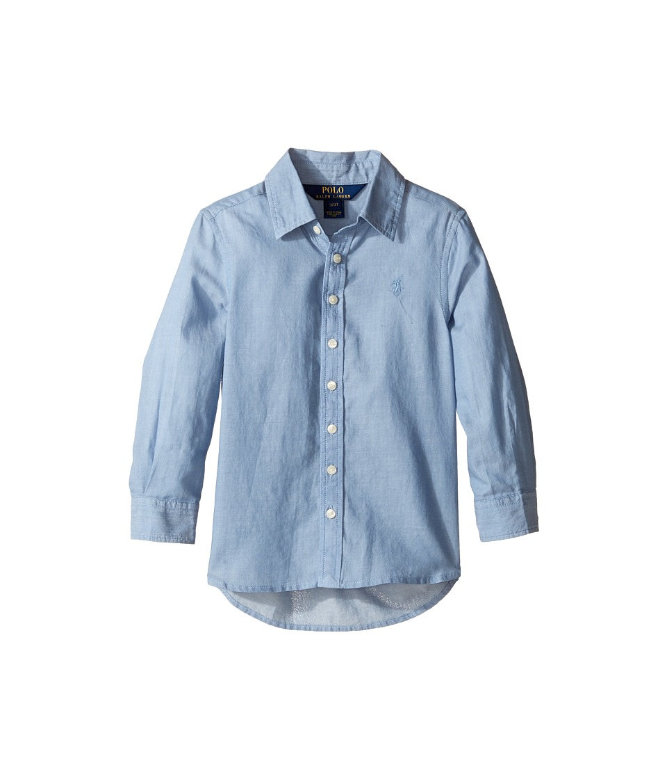 Polo Ralph Lauren Kids - Lightweight Cotton Button Front Shirt (Toddler) (Blue) Girl's Long Sleeve Button Up