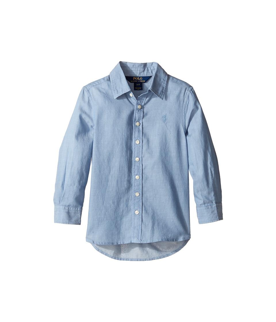 Polo Ralph Lauren Kids - Lightweight Cotton Button Front Shirt (Toddler) (Blue) Girl's Long Sleeve Button Up