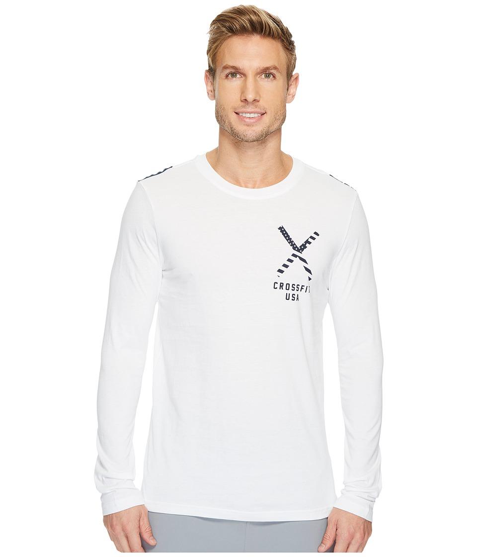 Reebok - CrossFit(r) Patriotic Long Sleeve Tee - USA (White) Men's Long Sleeve Pullover