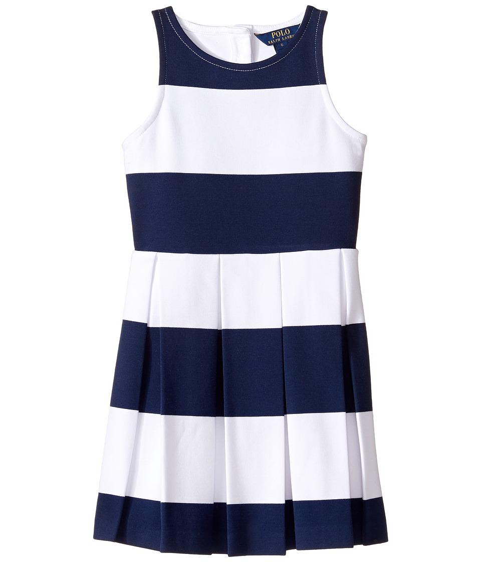 Polo Ralph Lauren Kids - Ponte Stripe Dress (Little Kids) (Spring Navy/White) Girl's Dress