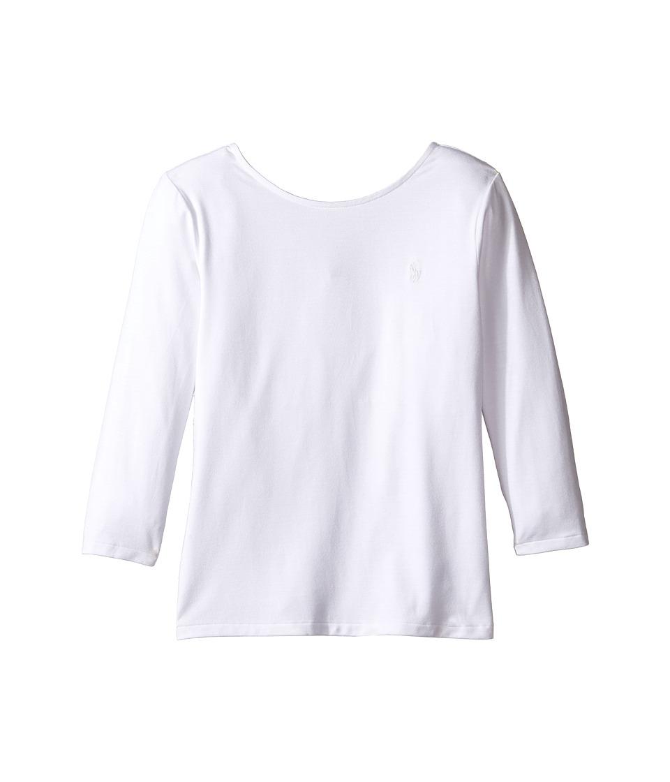 Polo Ralph Lauren Kids - Cotton Scoop Knit Top (Little Kids/Big Kids) (White) Girl's Clothing