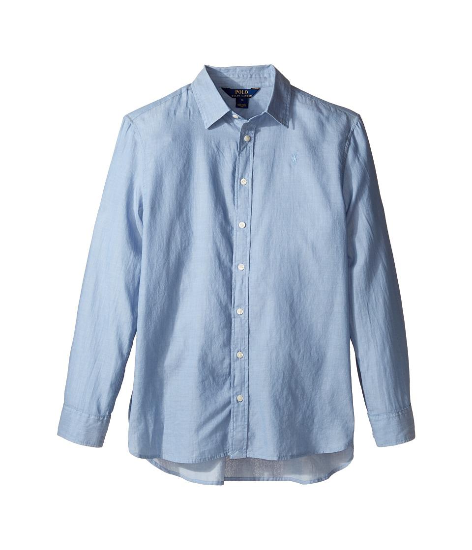 Polo Ralph Lauren Kids - Lightweight Cotton Button Front Shirt (Big Kids) (Blue) Girl's Clothing