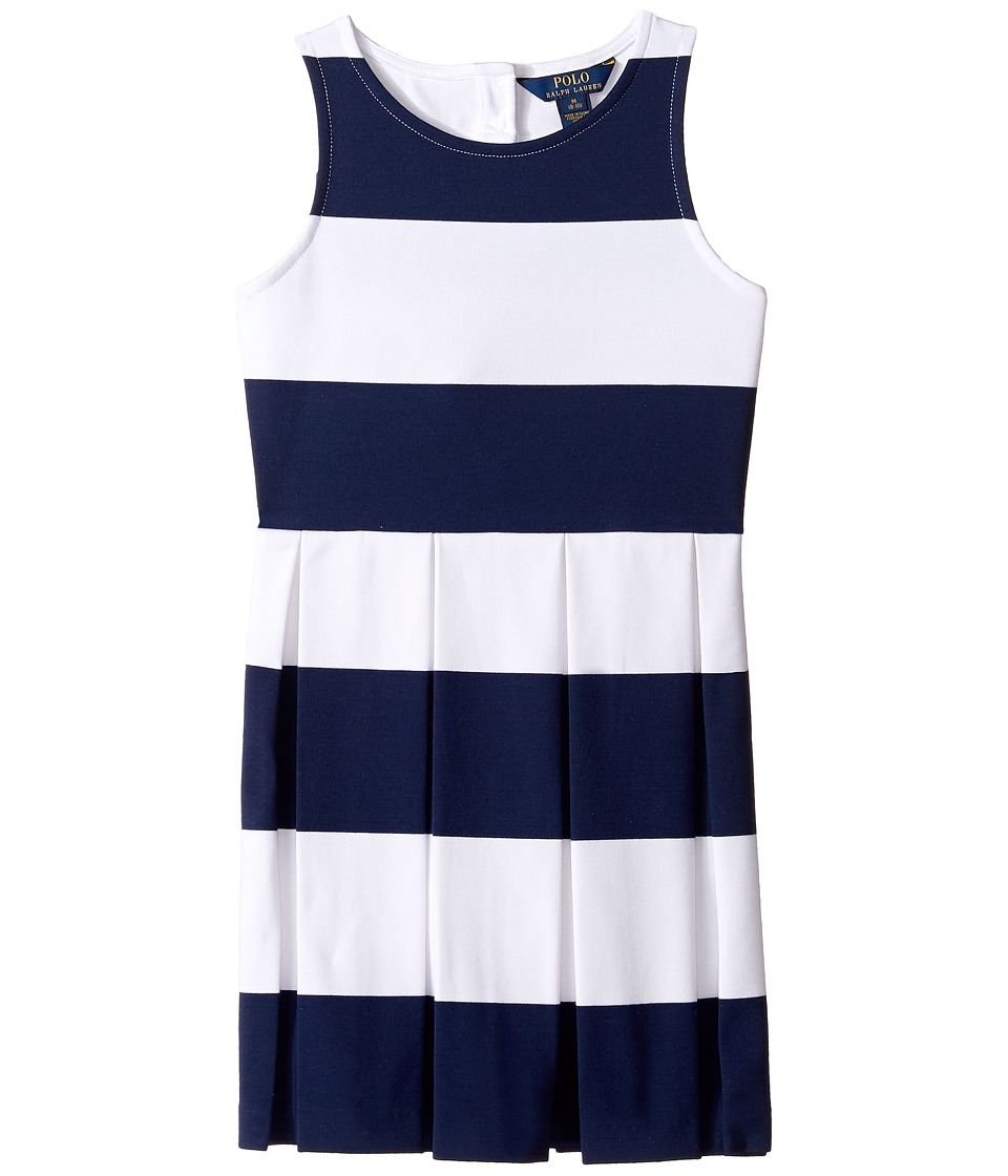Polo Ralph Lauren Kids - Ponte Stripe Dress (Little Kids/Big Kids) (Spring Navy/White) Girl's Dress