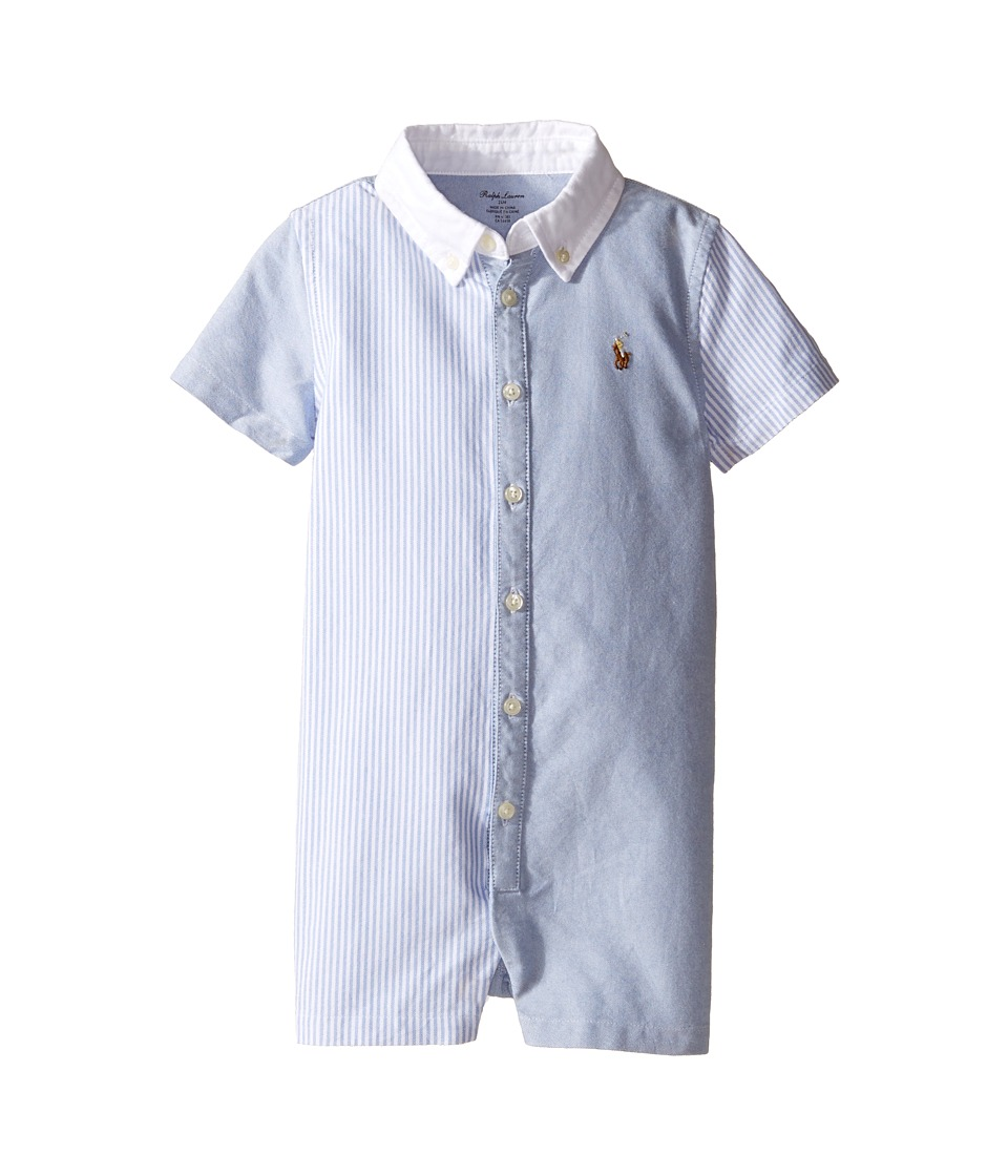 Ralph Lauren Baby - Oxford Fun Shirt Shortalls (Infant) (Blue Multi) Boy's Overalls One Piece