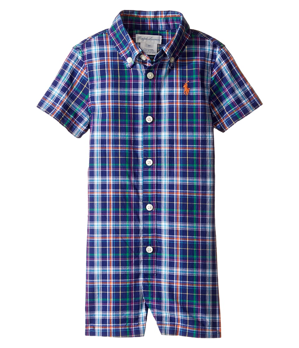 Ralph Lauren Baby - Yarn-Dyed Oxford Plaid Shortalls (Infant) (Blue/Orange Multi) Boy's Overalls One Piece