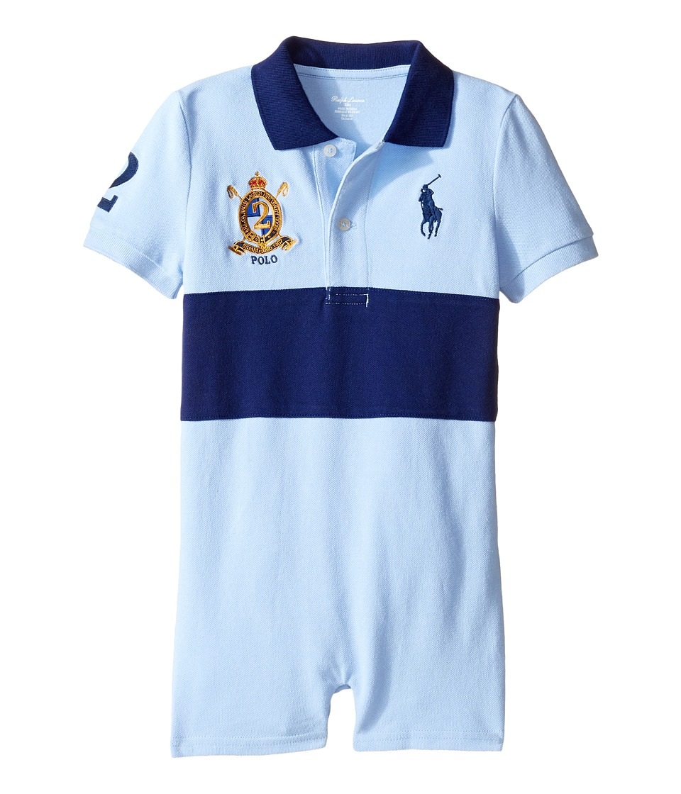 Ralph Lauren Baby - Classic Mesh Banner Polo Shortalls (Infant) (Pure White Multi) Boy's Overalls One Piece