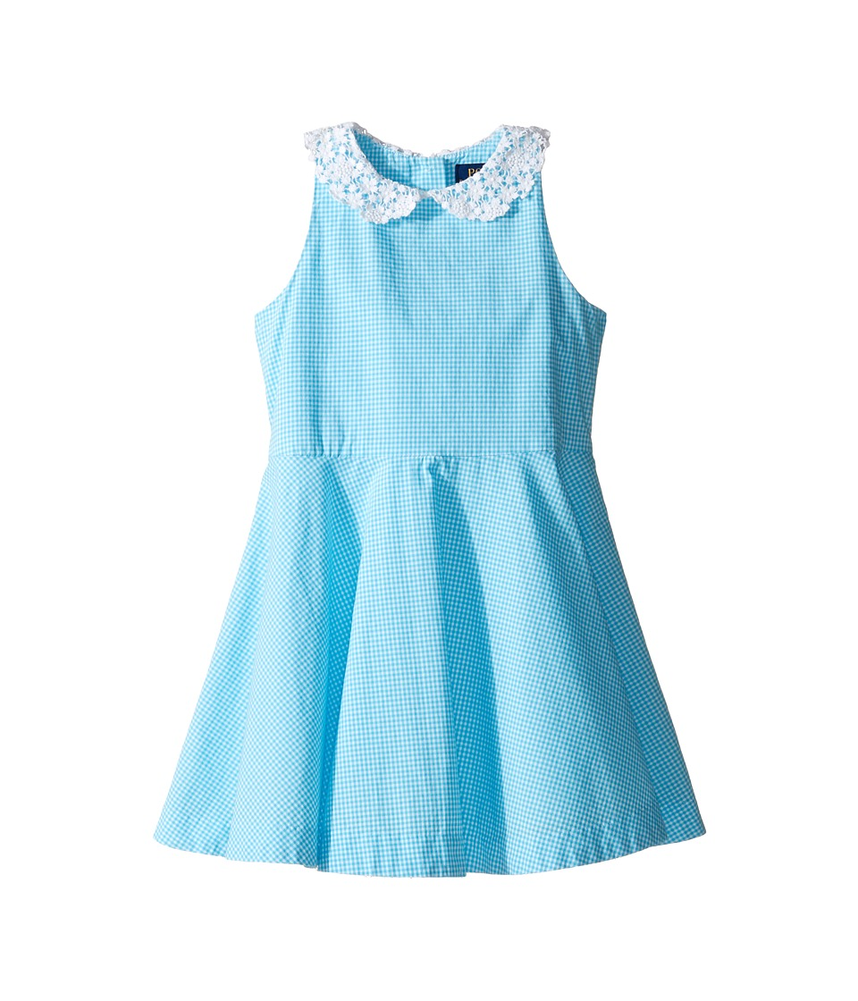 Polo Ralph Lauren Kids - Poplin Gingham Dress (Toddler) (Blue/White) Girl's Dress