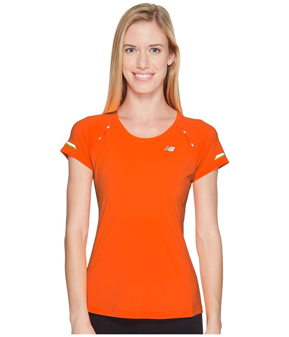 New Balance - NB Ice Short Sleeve Shirt (Vivid Tangerine) Women's Short Sleeve Pullover