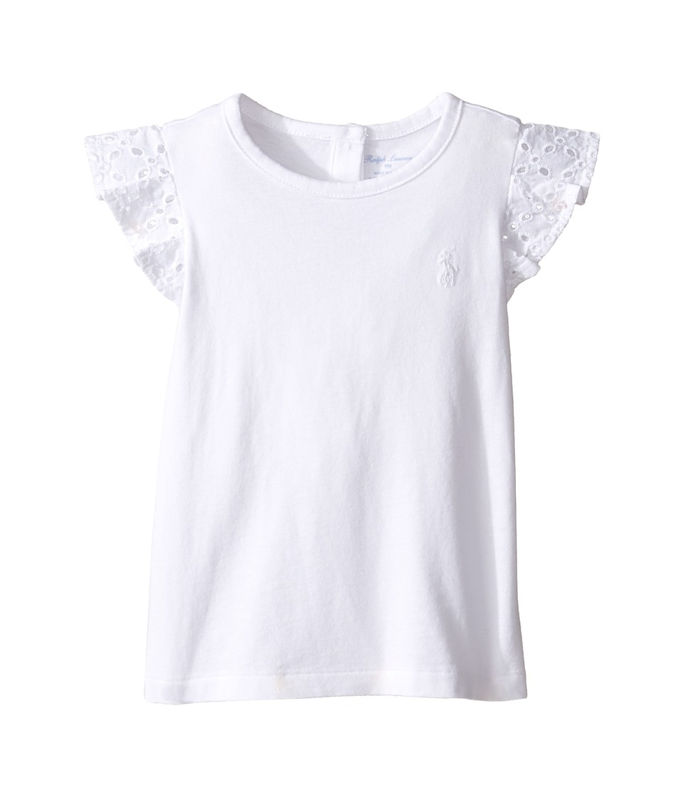 Ralph Lauren Baby - Cotton Jersey Flutter Top (Infant) (White) Girl's Short Sleeve Knit