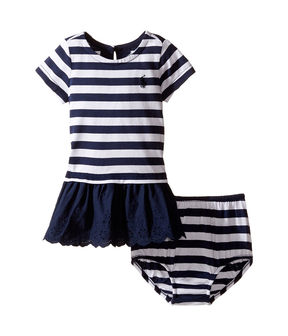 Ralph Lauren Baby - Cotton Stripe Eyelet Dress (Infant) (Spring Navy/White) Girl's Dress