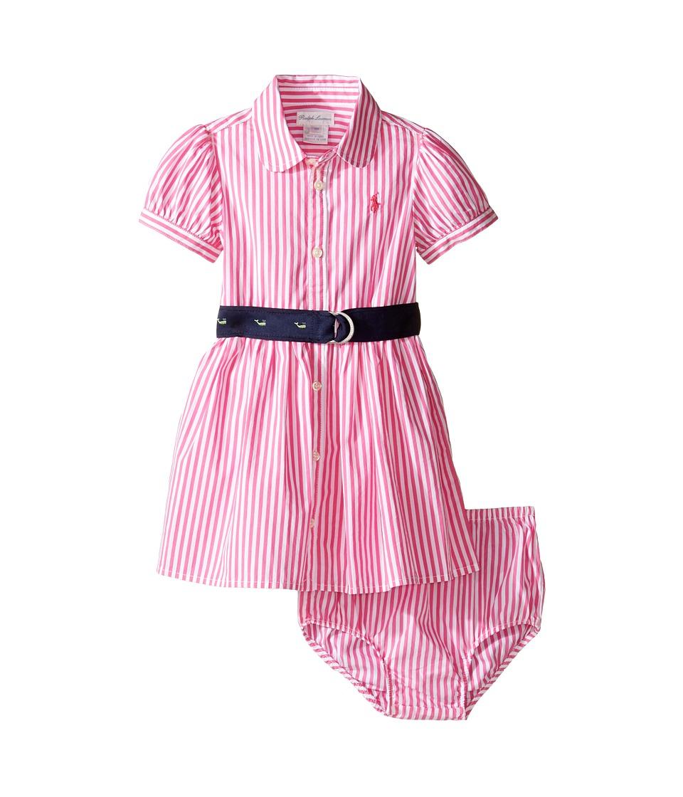 Ralph Lauren Baby - Woven Drop Waist Dress (Infant) (Pink/White) Girl's Dress