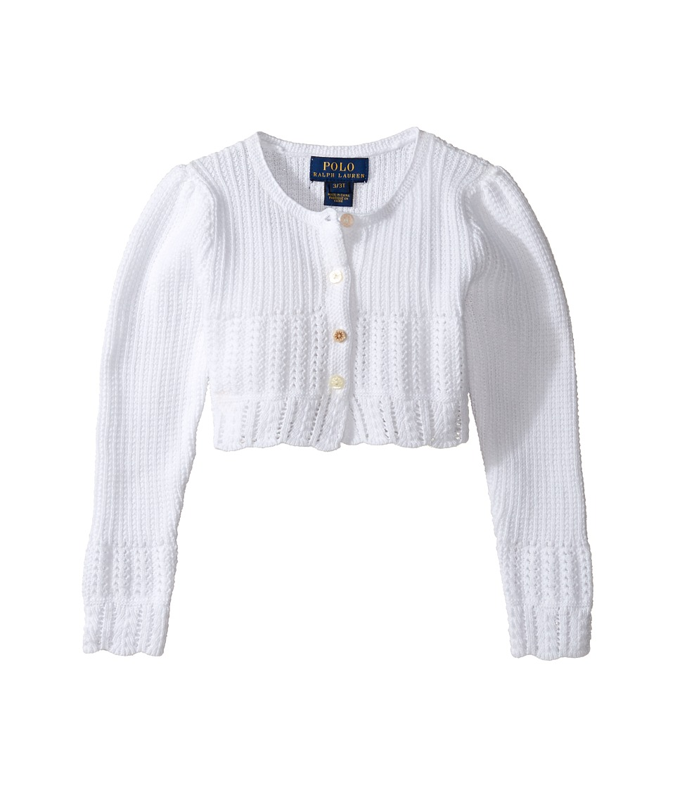 Polo Ralph Lauren Kids - Cotton Blend Sweet Shrug Sweater (Toddler) (White) Girl's Sweater