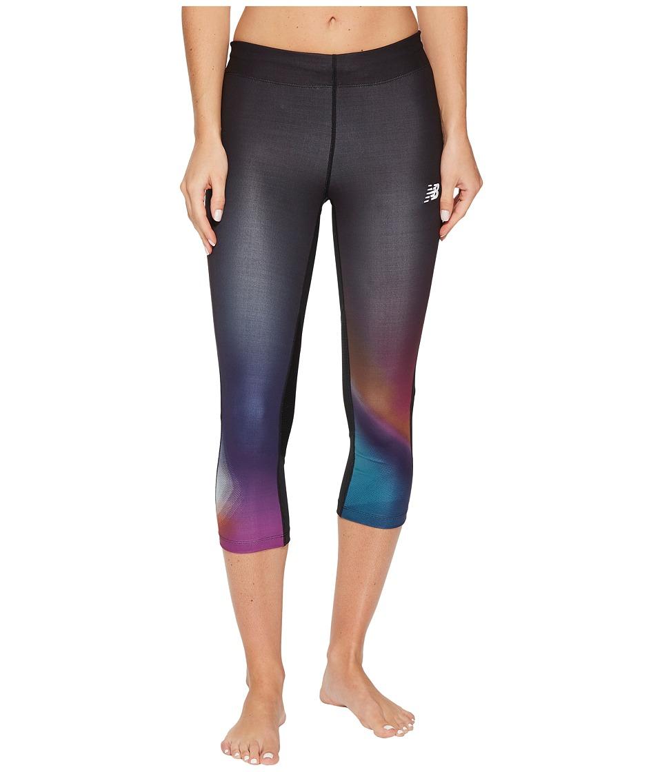 New Balance Impact Premium Print Capris (Infrared Multi/Pisces/Poisonberry) Women