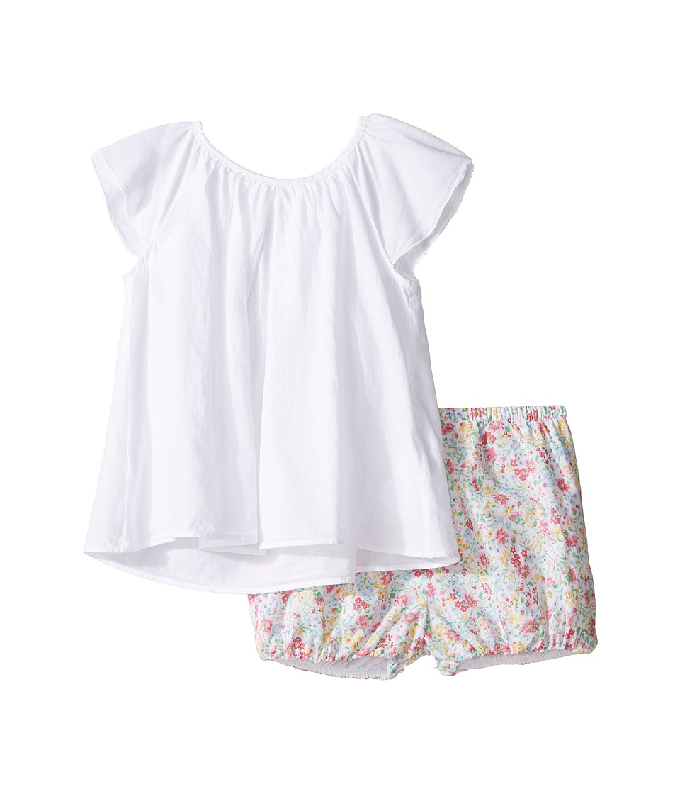 Ralph Lauren Baby - Printed Cotton Flutter Top Shorts Set (Infant) (White) Girl's Active Sets