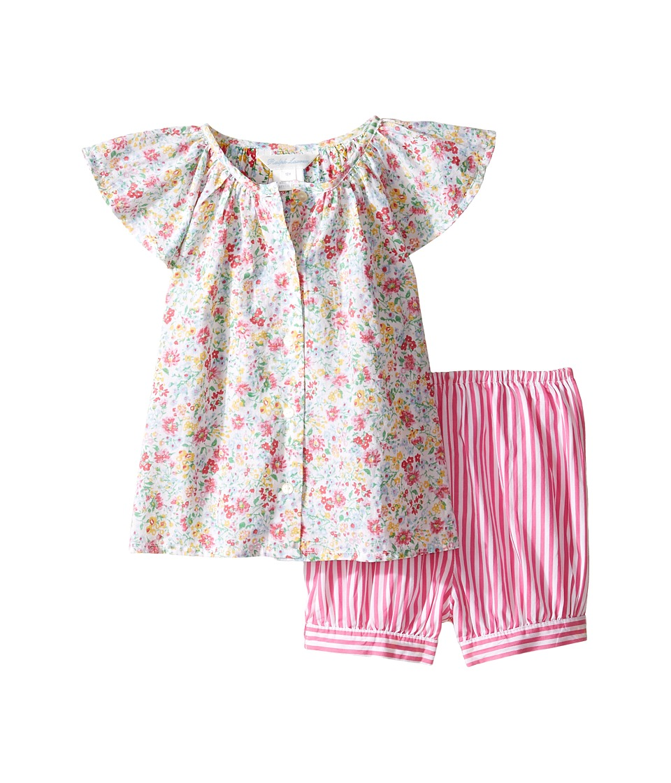 Ralph Lauren Baby - Printed Cotton Striped Shorts Set (Infant) (Pink/White Multi) Girl's Active Sets