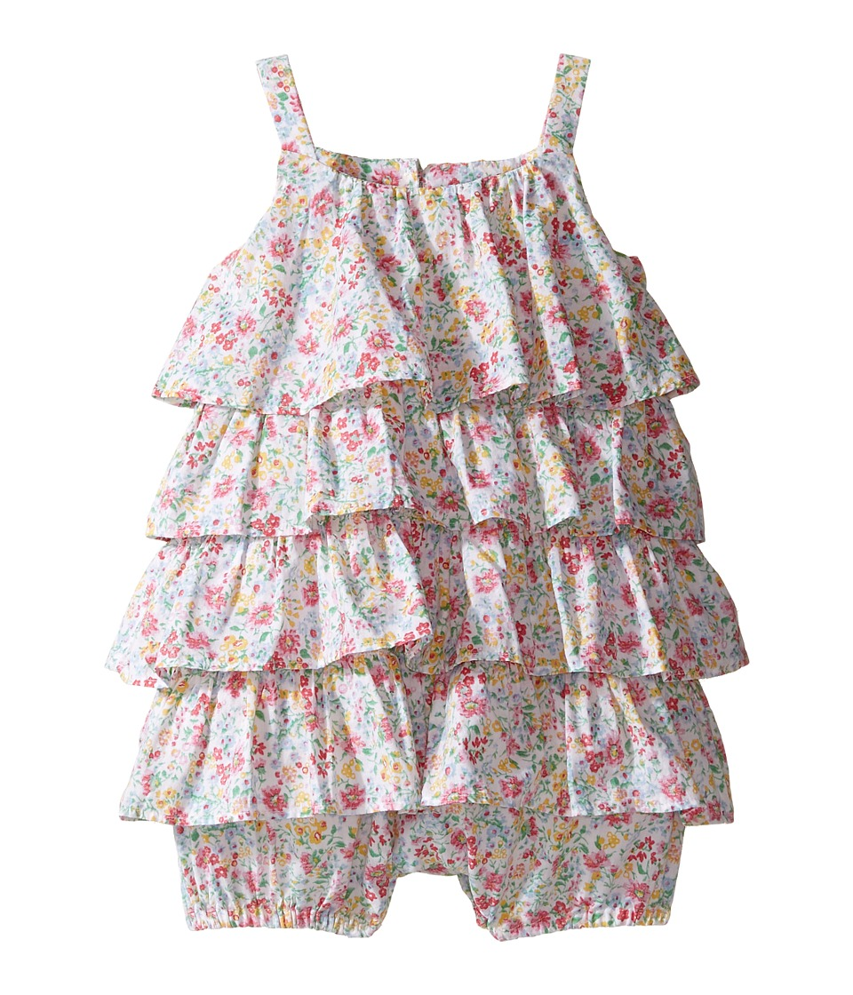 Ralph Lauren Baby - Printed Cotton Tiered Bubble Shortalls (Infant) (Pink/White Multi) Girl's Overalls One Piece