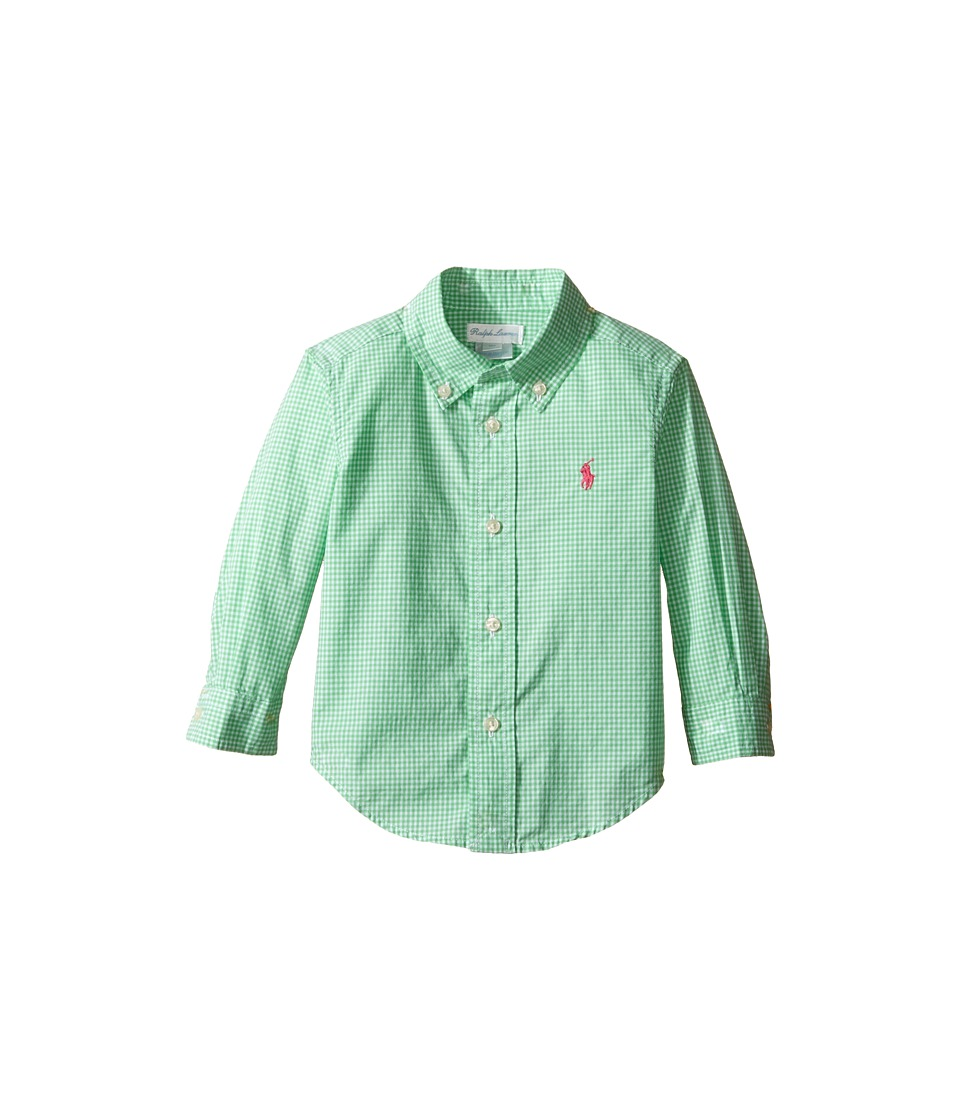 Ralph Lauren Baby - Poplin Long Sleeve Button Down Top (Infant) (Green/White) Boy's Long Sleeve Button Up