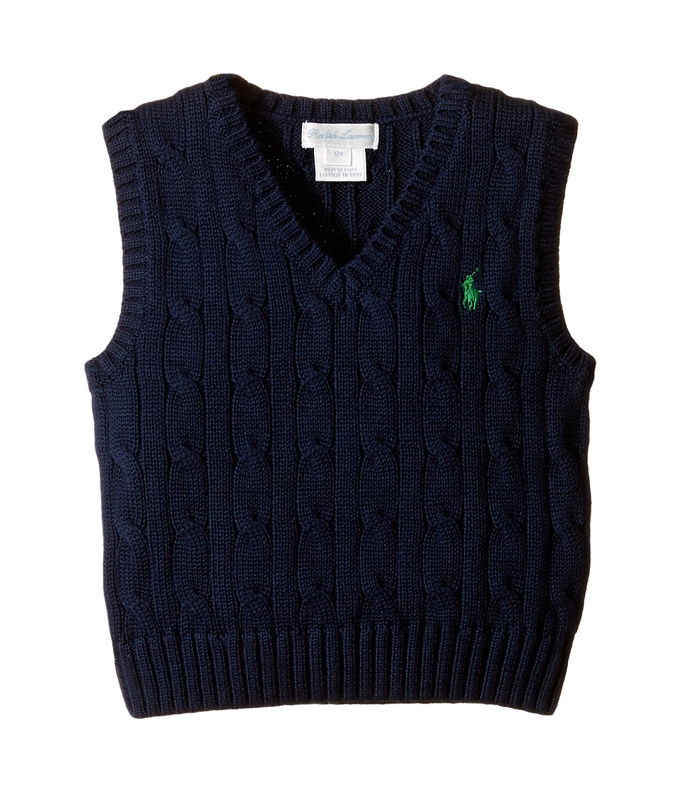 Ralph Lauren Baby - Cotton Cable Sweater Vest (Infant) (Chateau Navy) Boy's Sweater