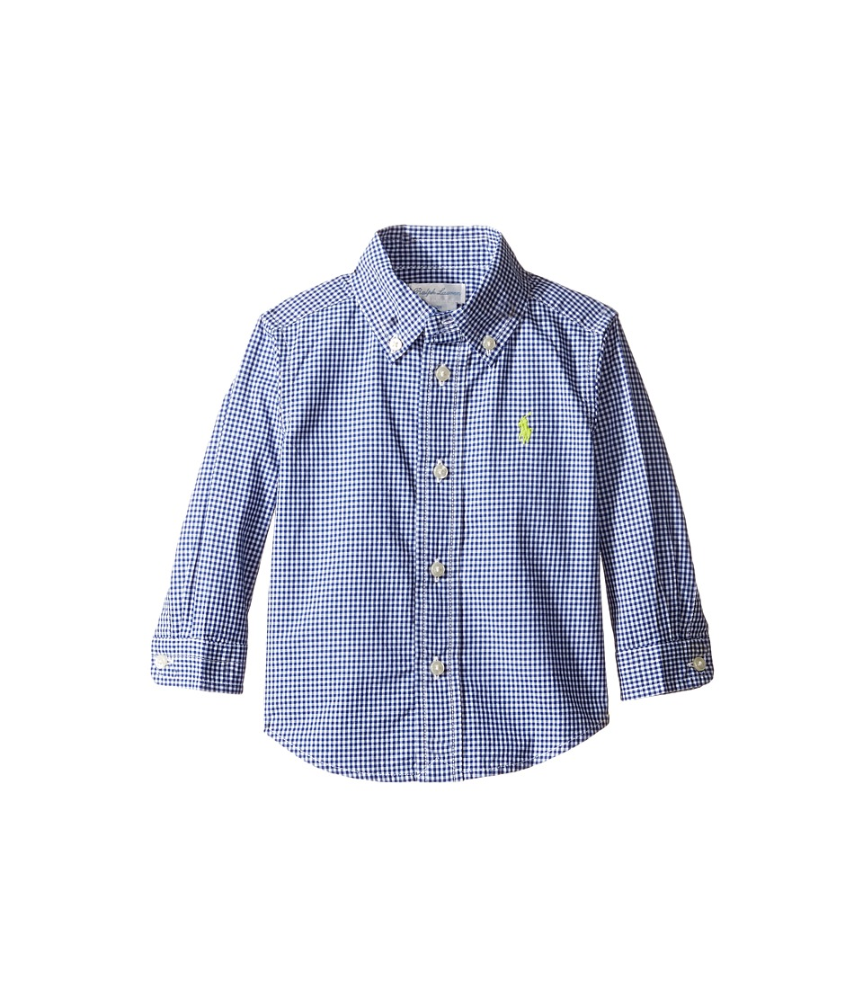Ralph Lauren Baby - Poplin Long Sleeve Button Down Top (Infant) (Royal/White) Boy's Long Sleeve Button Up