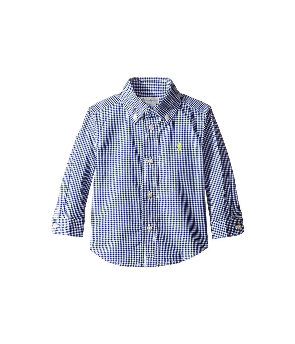 Ralph Lauren Baby - Poplin Long Sleeve Button Down Top (Infant) (Royal/White) Boy's Long Sleeve Button Up