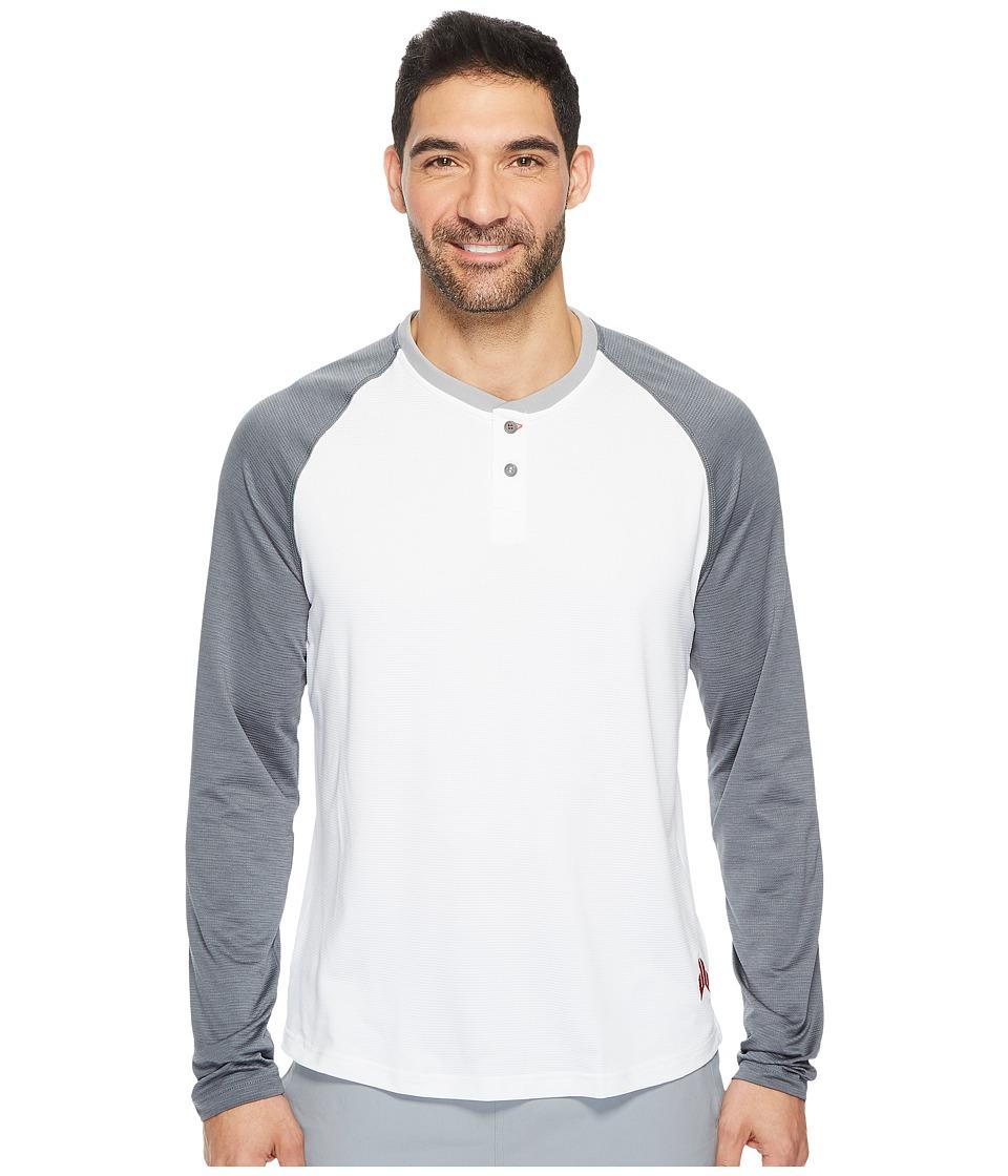 Reebok - J.J. Watt Baseball Long Sleeve Henley (White/Alloy) Men's Workout