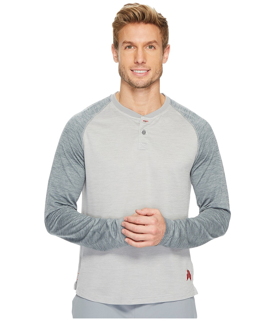 Reebok - J.J. Watt Baseball Long Sleeve Henley (Light Grey Heather/Medium Grey Heather) Men's Workout