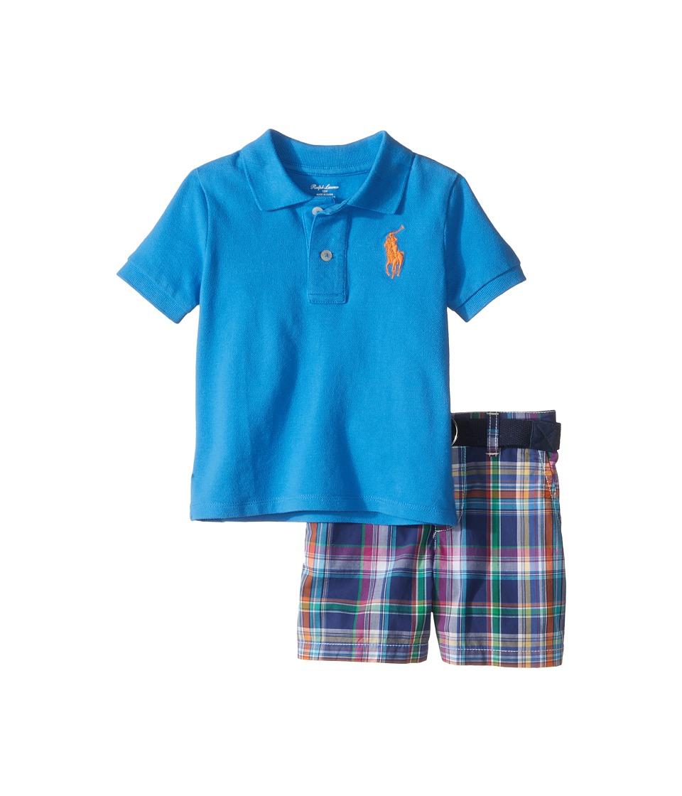Ralph Lauren Baby - Mesh Plaid Shorts Set (Infant) (True Royal) Boy's Active Sets